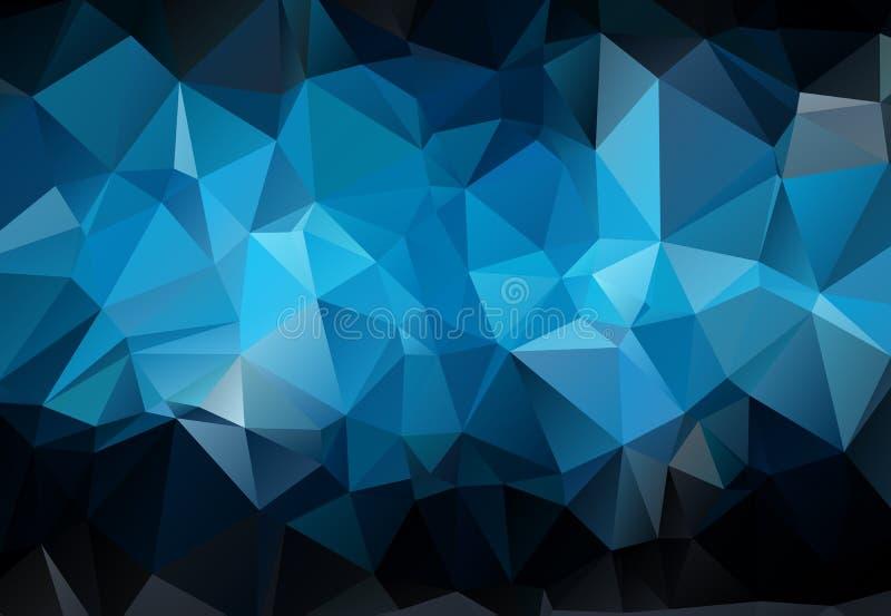 Abstrakte dunkelblaue polygonale Illustration, die aus Dreiecken bestehen Geometrischer Hintergrund in der Origamiart mit Steigun stock abbildung