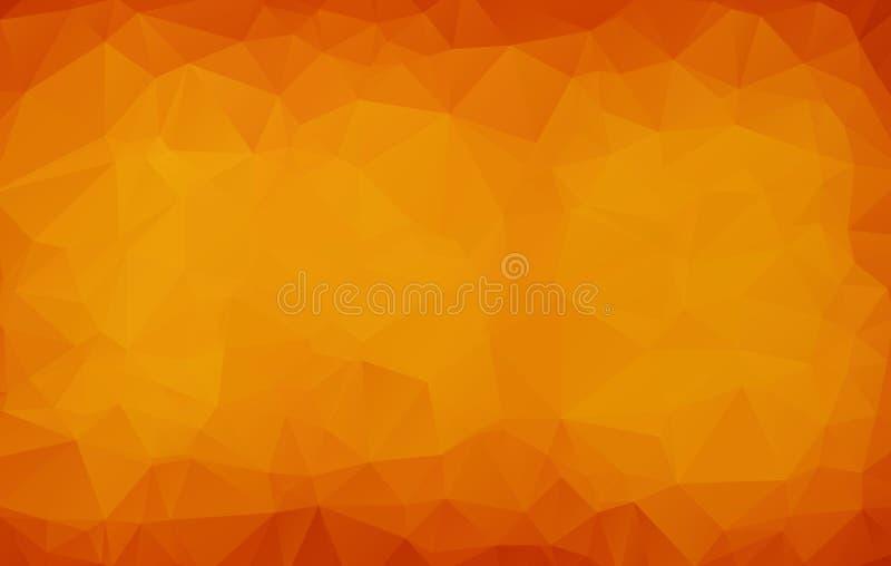 Abstrakte dunkelorangefarbige polygonale Illustration, die aus Dreiecken bestehen Geometrischer Hintergrund in der Origamiart mit vektor abbildung