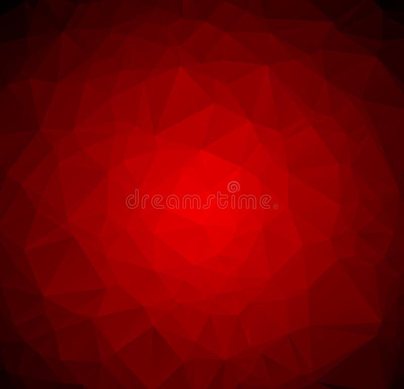 Abstrakte dunkelrote polygonale Illustration, die aus Dreiecken bestehen Geometrischer Hintergrund in der Origamiart mit Steigung lizenzfreie abbildung