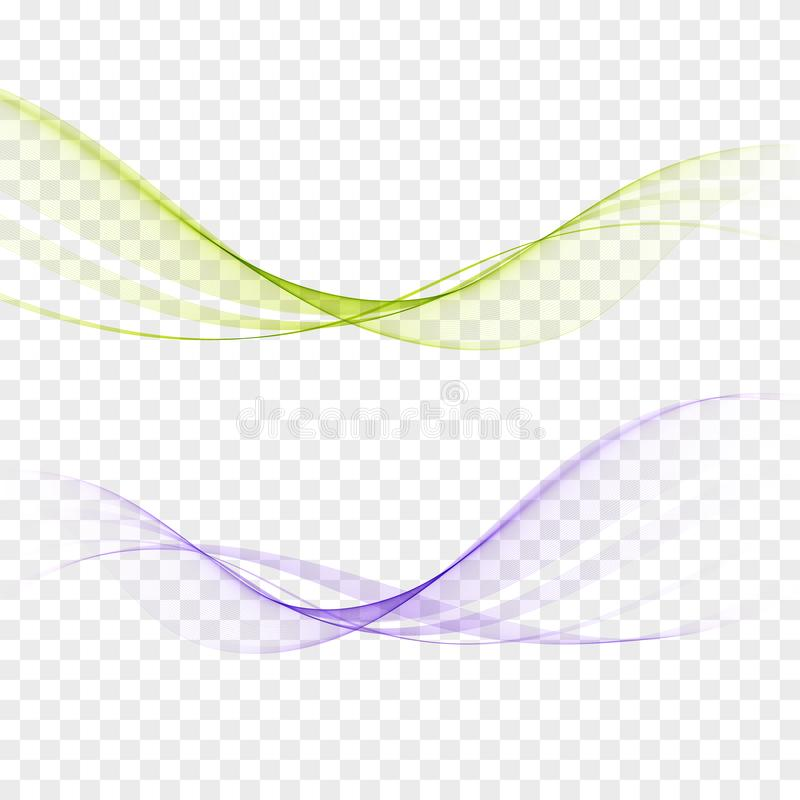 Abstrakte elegante Lichtwellen eingestellt in die blauen, grünen Farben und in glatte dynamische Art auf transparentem Hintergrun vektor abbildung