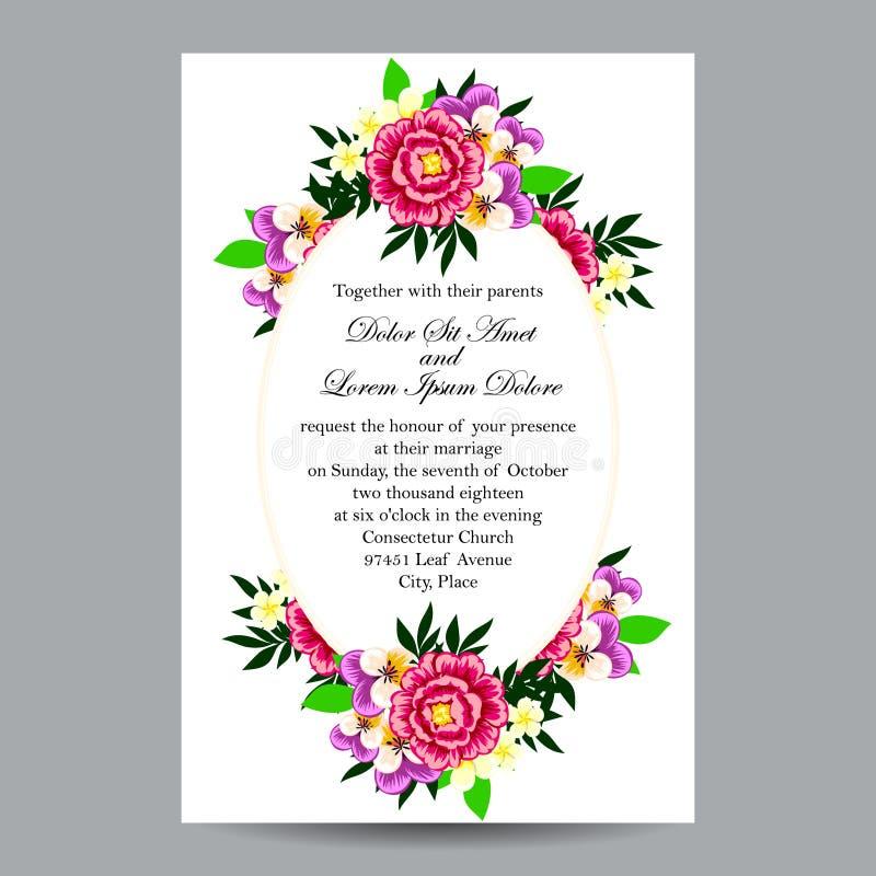 Abstrakte Eleganzeinladung mit Blumenhintergrund stock abbildung
