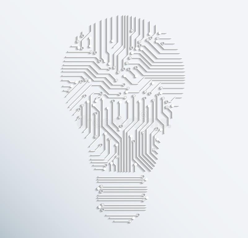 Abstrakte elektronische Glühlampeikone des Rechnerschaltungsbrettes Vecto stock abbildung