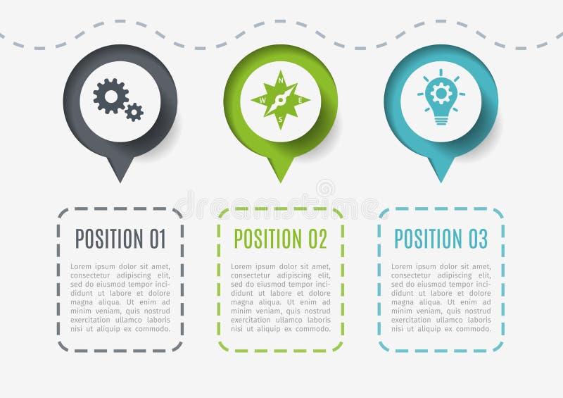 Abstrakte Elemente des Diagramms, des Diagramms mit 3 Schritten, der Wahlen oder der Teile Kreatives Konzept für infographic Komm vektor abbildung