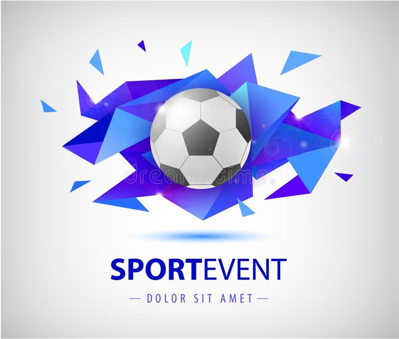 Abstrakte Entwurfsschablone des Vektorfußballs für Fußballabdeckungen, Fahnen, Sportplakate, Plakate und Flieger mit Ball facette vektor abbildung