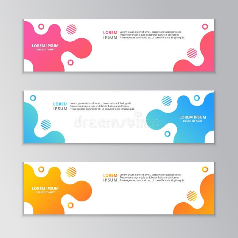 Abstrakte Fahnen-Schablone, moderner Entwurfs-Hintergrund, dynamische flüssige Steigung lizenzfreie abbildung