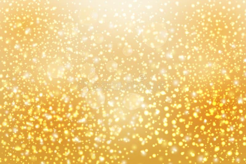 Abstrakte fallende goldene Lichter Magischer Goldstaub und -greller Glanz vektor abbildung