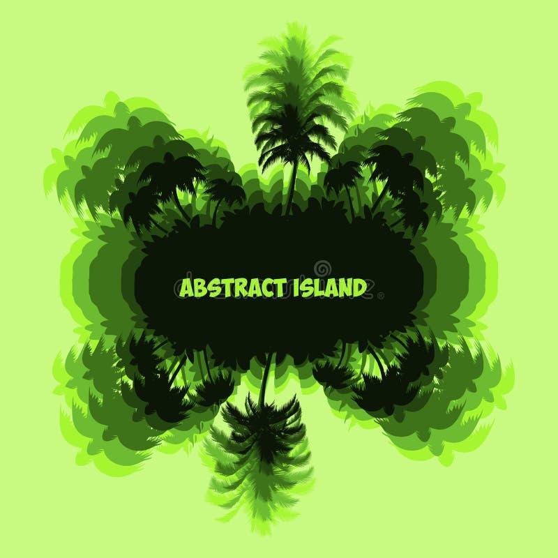 Abstrakte fantastische Palmeinsel, grünes Schattenbild mit auf Li vektor abbildung