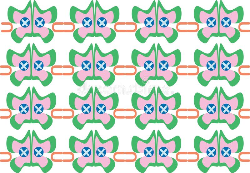 Abstrakte, farbenfrohe Schmetterlingsform repetitive ethnische Muster stock abbildung