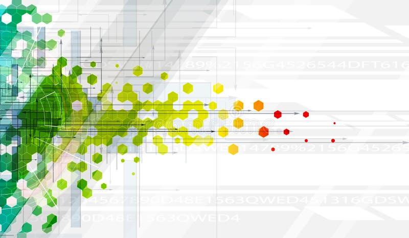 Abstrakte Farbhexagon-Hintergrundinformationen-Technologiefahne lizenzfreie abbildung