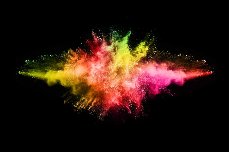 Abstrakte farbige Staubexplosion auf einem schwarzen Hintergrund stock abbildung