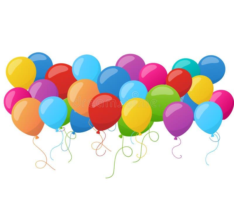 Abstrakte Feiertagsgeburtstagsfahne mit bunten Ballonen Vektor vektor abbildung