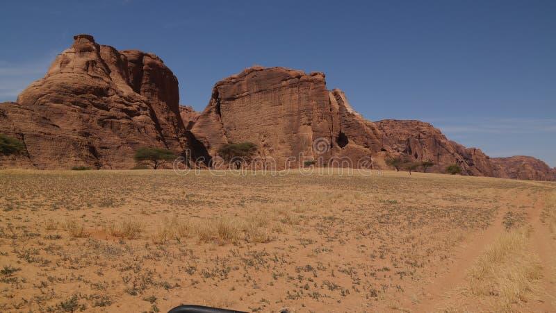 Abstrakte Felsformation an der Hochebene Ennedi nahe Aloba-Bogen in Tschad lizenzfreies stockfoto