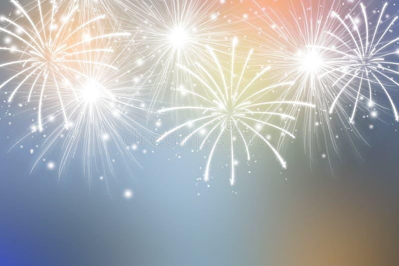 Abstrakte Feuerwerke auf Farbhintergrund Feier-Tapete lizenzfreie abbildung