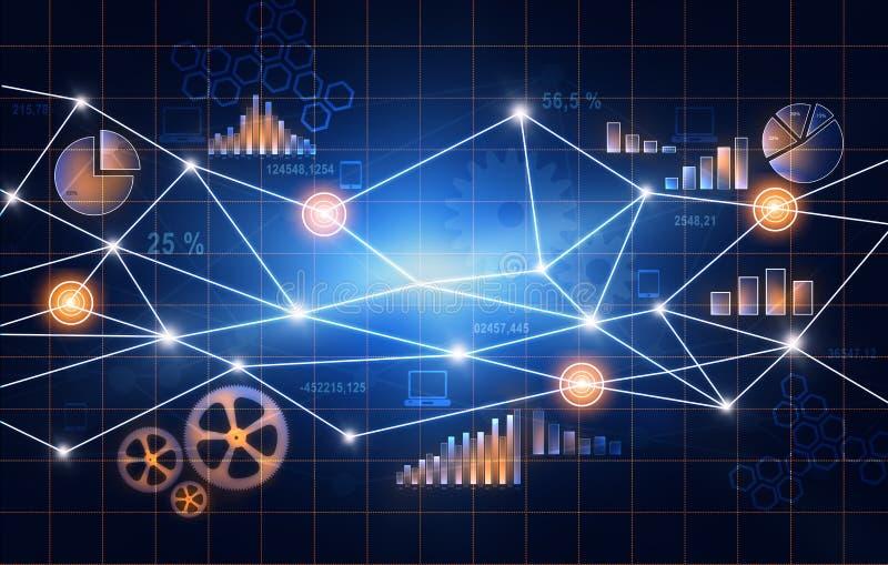 Abstrakte Finanzdiagramme im Netz von Punkten lizenzfreie abbildung