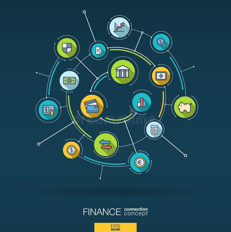 Abstrakte Finanzierung, Banktechnologiehintergrund Digital schließen System mit integrierten Kreisen, flache Linie Ikonen an Vekt stock abbildung