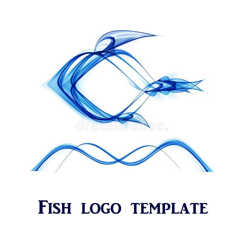 Abstrakte Fischlogoschablone auf einem weißen Hintergrund stock abbildung