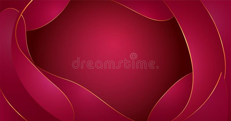 Abstrakte Flüssigkeit des Vektors formt Zusammensetzung Rotwein bewegt Hintergrund mit Plastikflüssigkeit, organische Formen, gol stock abbildung