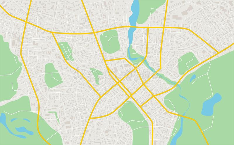 Abstrakte flache Karte der Stadt Plan der Stadt Ausführlicher Stadtplan Auch im corel abgehobenen Betrag stock abbildung