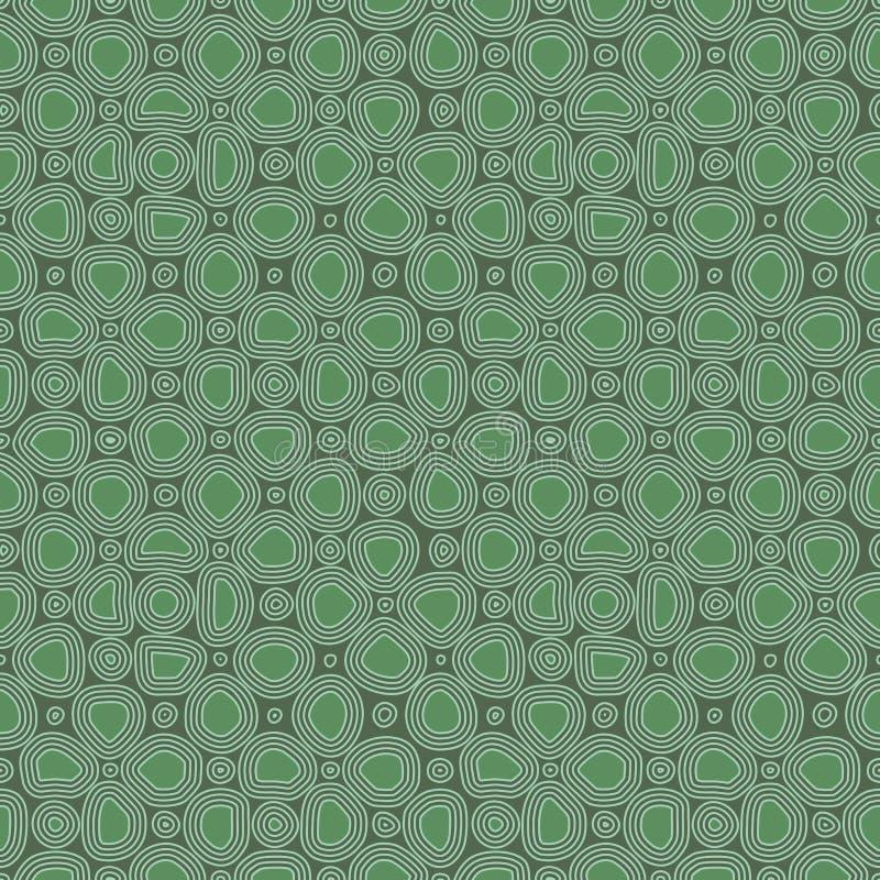 Abstrakte flache Steine, Handgezogenes ethnisches Muster Retro- Verzierung des Vektorgrüns für Gewebe, Drucke, Tapete, Packpapier vektor abbildung