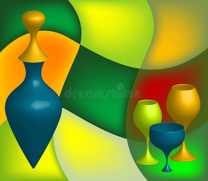 Abstrakte Flasche und Gläser vektor abbildung