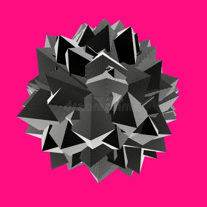 Abstrakte Form 3d in gestreiftem Muster auf Rosa vektor abbildung