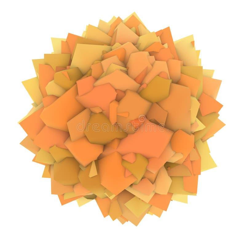 abstrakte Form des orange Gelbs 3d auf Weiß lizenzfreie abbildung