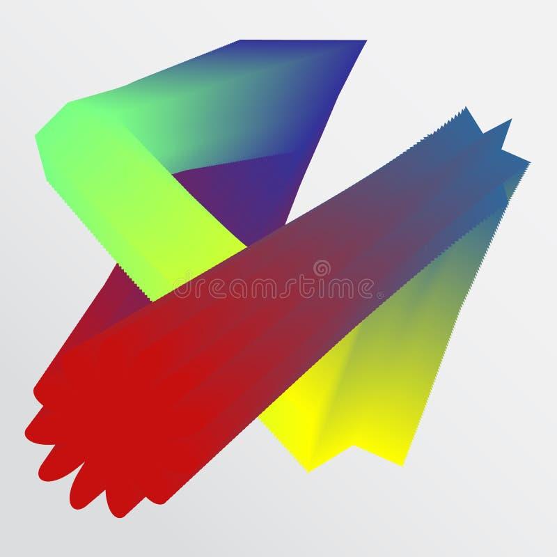 Abstrakte Formen und Farbumwandlung auf dem weißen Hintergrund stock abbildung