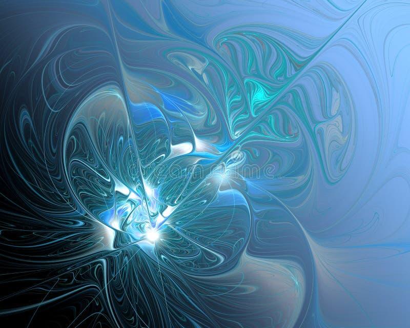 Abstrakte Fractal-Auslegung Turbulenz des schmelzenden Silbers im Blau lizenzfreie abbildung
