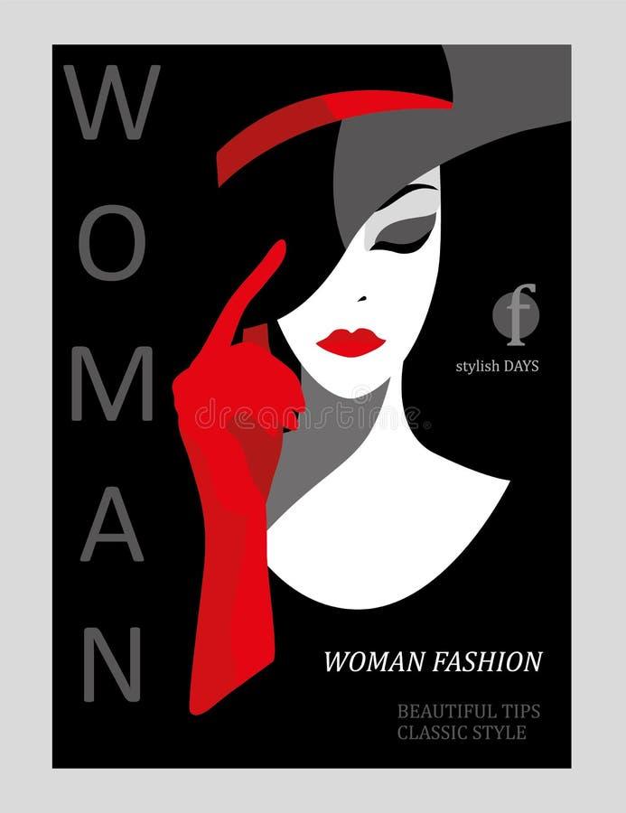 Abstrakte Frau mit dem roten Haar und gestreiftem Kleid auf Seehintergrund Modezeitschriftabdeckungsdesign lizenzfreie abbildung