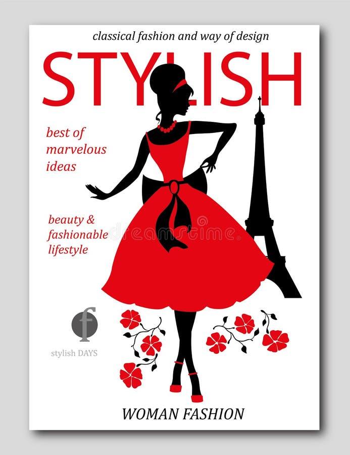 Abstrakte Frau mit großem Hut mit Blume in Paris Modezeitschriftabdeckungsdesign lizenzfreie abbildung
