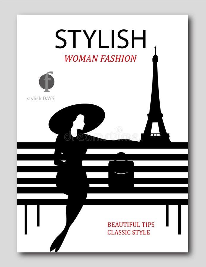 Abstrakte Frau mit großem Hut und Tasche auf Bank in Paris Modezeitschriftabdeckungsdesign stock abbildung