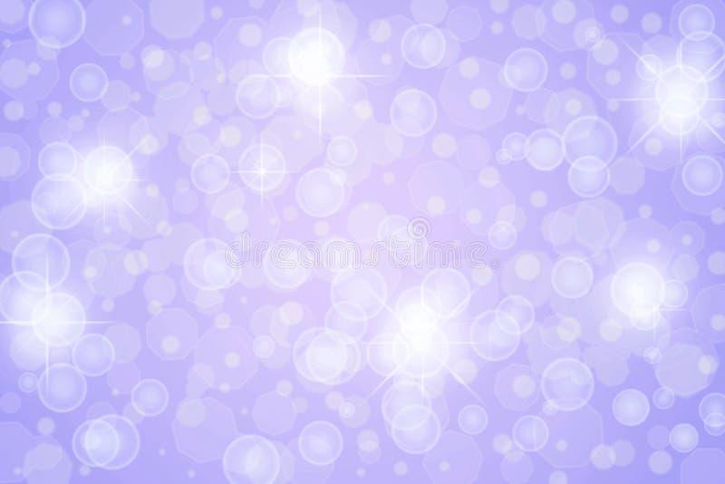 Abstrakte Funkeln-Sterne, Lichter, Scheine und Blasen im purpurroten Hintergrund stock abbildung