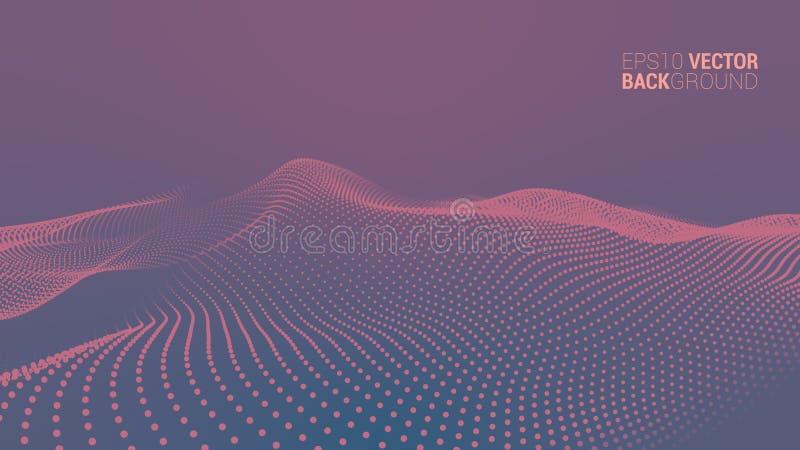Abstrakte futuristische digitale Landschaft des Vektors lizenzfreie stockfotografie
