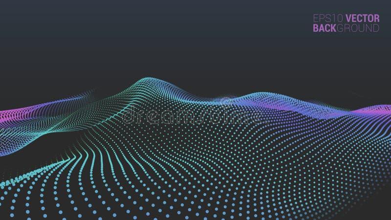 Abstrakte futuristische digitale Landschaft des Vektors lizenzfreies stockfoto