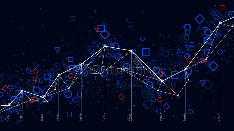 Abstrakte futuristische infographic, große Daten der Wirtschaftsstatistik stellen Sichtbarmachung grafisch dar stock abbildung