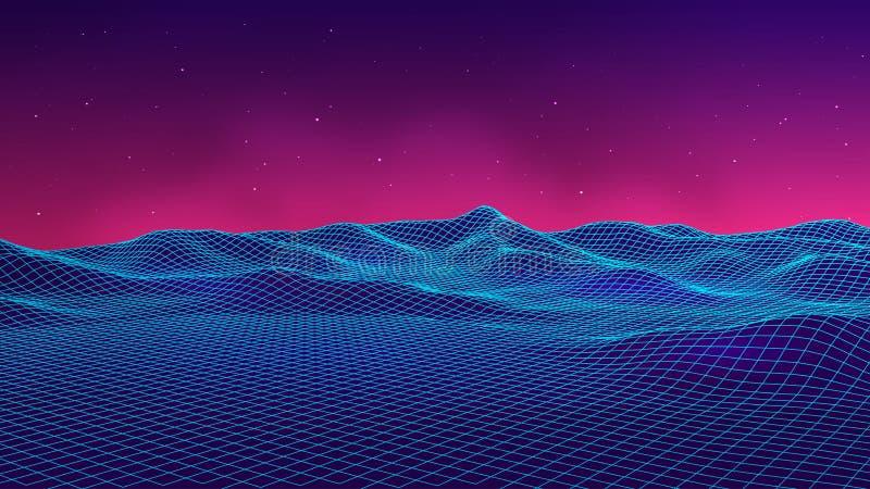 Abstrakte futuristische Landschaftsachtziger jahre Art Parteihintergrund der Vektorillustration 80s Retro- Sciencefictions-Hinter lizenzfreie abbildung