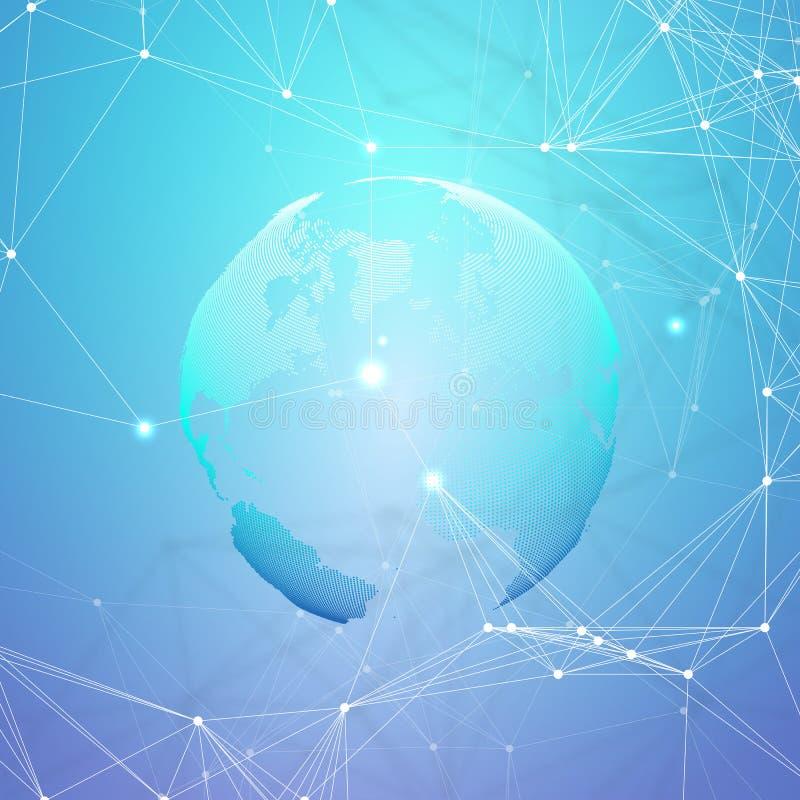 Abstrakte futuristische Netzformen Hightech- HUD-Hintergrund, Verbindungslinien und Punkte, polygonale lineare Beschaffenheit wel stock abbildung