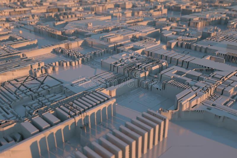 Abstrakte futuristische Stadt belichtet durch Sonnenlicht Abbildung 3D lizenzfreie stockfotos