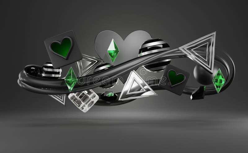 Abstrakte futuristische zufällige Objekte stock abbildung
