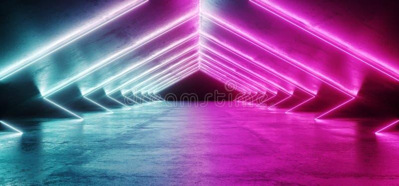 Abstrakte geformte Sci FI-futuristische moderne vibrierende glühende Neon-PU vektor abbildung