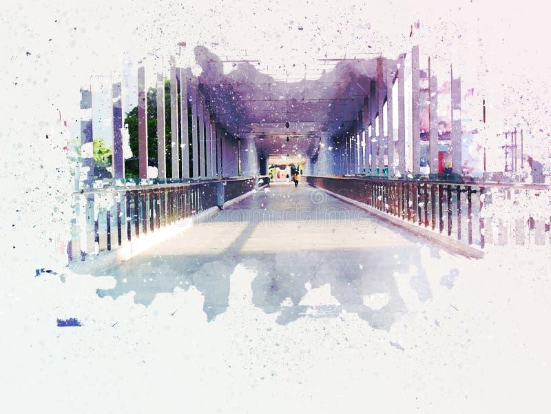 Abstrakte gehende Straße auf malendem Hintergrund des Aquarells lizenzfreie abbildung