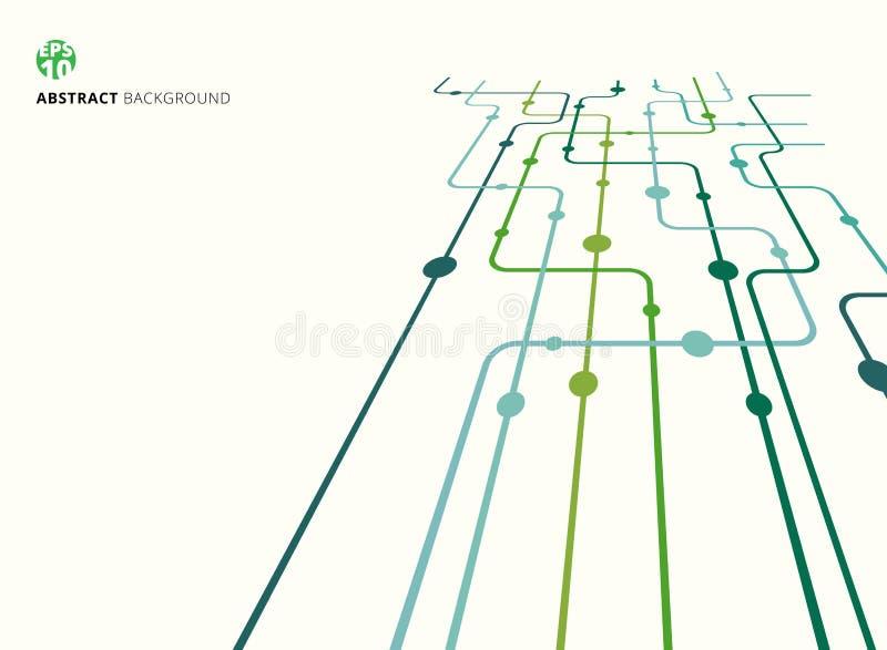 Abstrakte gekrümmte Linien des Technologieperspektivenhintergrundes grüne Farb, Punkte mit Kopienraum Flaches Design stock abbildung