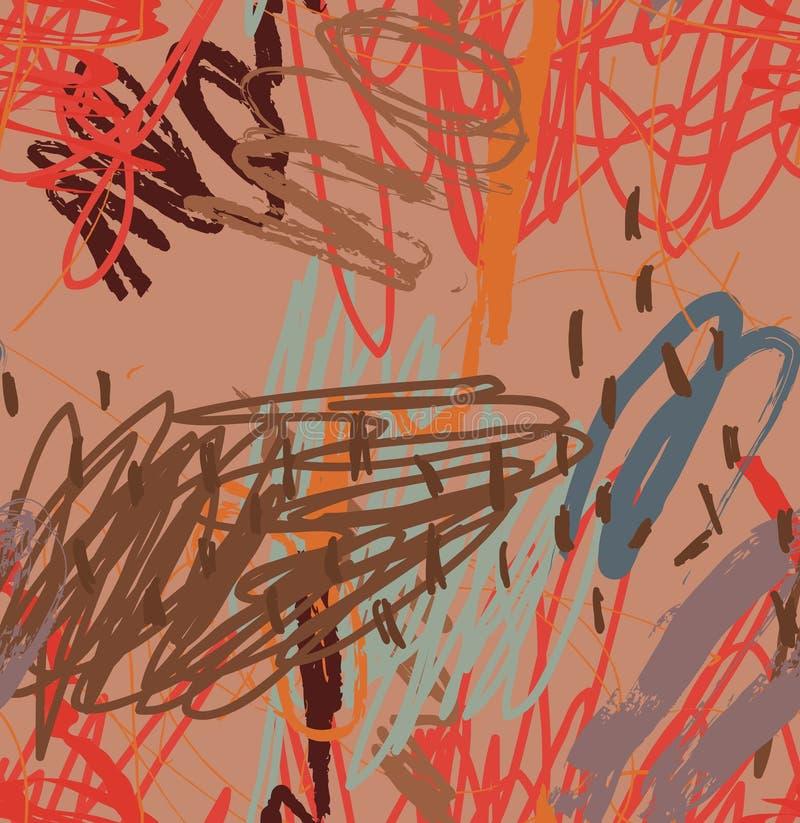 Abstrakte Gekritzel und braunes Rot der Punkte lizenzfreie abbildung