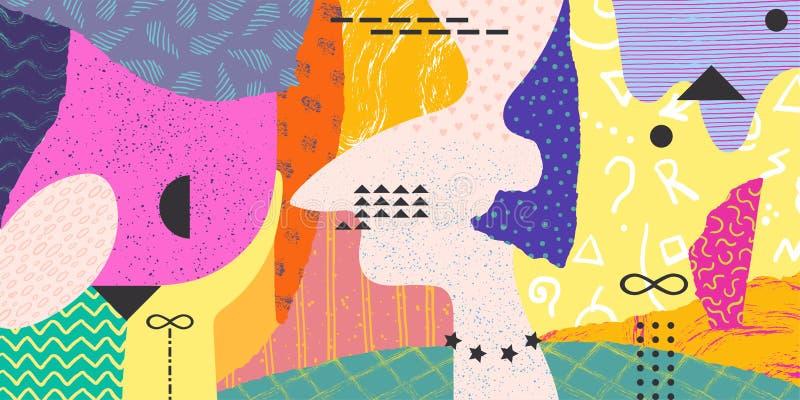 Abstrakte Gekritzelcollage Minimales Memphis-Hintergrundmuster, Elemente der modernen Kunst Zeitgenössische Fahne des Vektors lizenzfreie abbildung