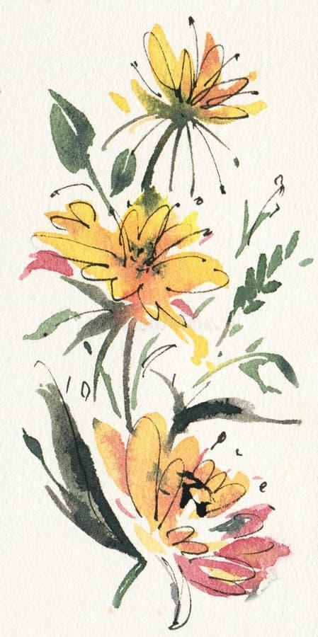 Abstrakte gelbe Blumen stock abbildung