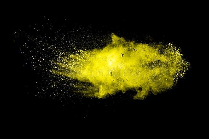 Abstrakte gelbe Farbpulverexplosion lizenzfreie stockfotografie