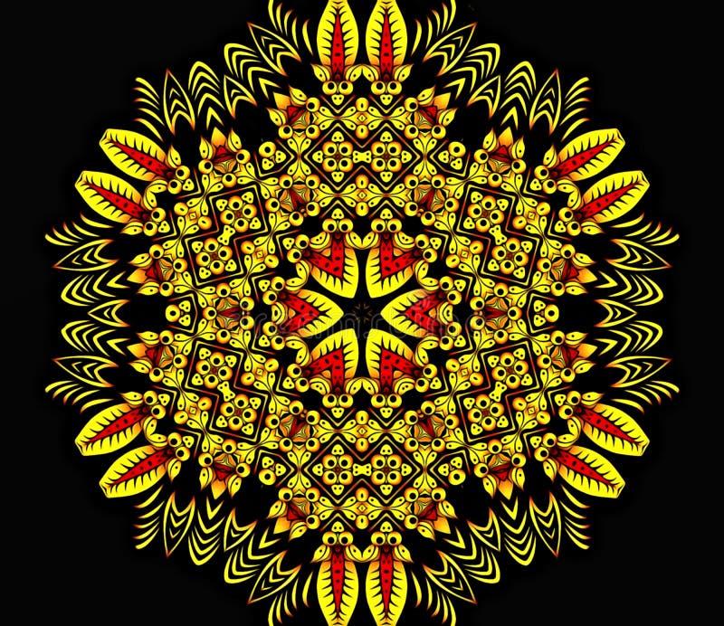 Abstrakte Geometrie der moderner Kunst Mystische Ostmandala traditionelles Design des Blumenkaleidoskops Psychedelisches symmetri stock abbildung