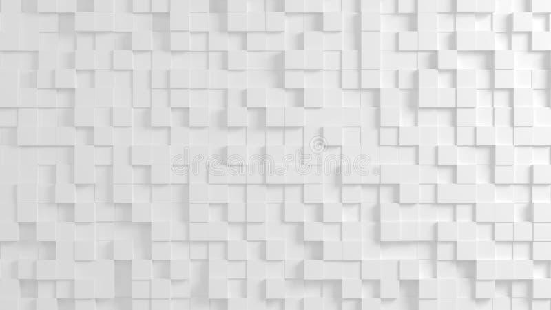 Abstrakte geometrische Beschaffenheit von nach dem Zufall verdrängten Würfeln lizenzfreie abbildung