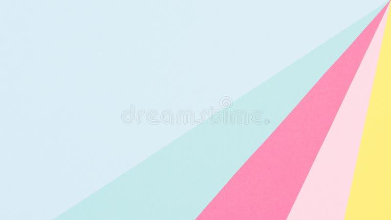 Abstrakte geometrische blaue, gelbe und rosa Papierpastellebene legen Hintergrund Minimalismus- und Symmetrieschablone lizenzfreie abbildung
