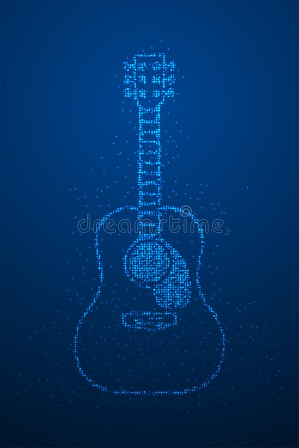 Abstrakte geometrische Bokeh-Kreispunktpixelmuster Akustikgitarreform, blaue Illustration des Musikinstrument-Konzeptentwurfs Far vektor abbildung